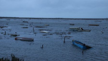 There was some flooding in and around Blakeney on Friday morning as the high tide hit. Picture: ALLY