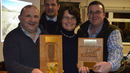 Stoke Ferry Agricultural Society wheat competition 2017. Pictured from left, winter wheat winner Rob