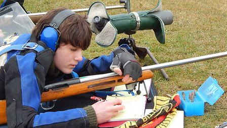 Gresham's student Toby Little gets in some practice on the rifle range. Picture: GRESHAM'S