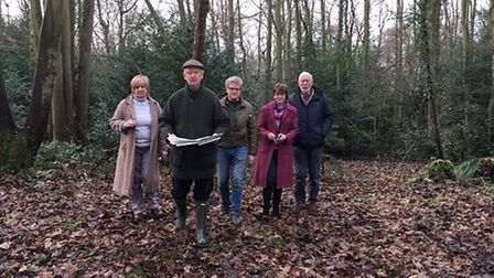 MP Sir Henry Bellinghaam with campaigners at Bilney Woods. Picture: Sarah Juggins.