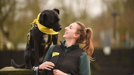 The Snetterton Dogs Trust. Pictured with Bonnie is canine carer Mia Hutchinson. Picture: Ian Burt