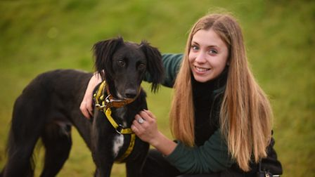 The Snetterton Dogs Trust. Pictured with Mojito is canine carer Charlie Martin. Picture: Ian Burt