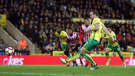 Steven Whittaker of Norwich scores his sides equalising goal from the penalty spot during the third