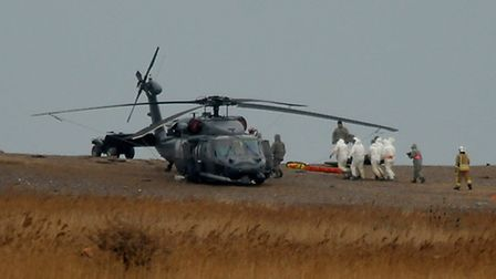 A USAF helicopter at Cley following the crash. Picture: ANTONY KELLY