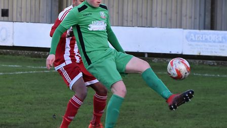 Connor Ingram who scored the equalising penalty for Gorleston in the 2-1 home win over Felixstowe &
