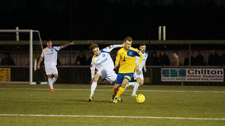 Lowestoft Town's Jamie Forshaw in action at AFC Sudbury. Photo: Shirley D Whitlow.