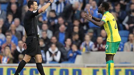Alex Tettey has been booked nine times so far this season for Norwich City. Picture by Paul Chestert