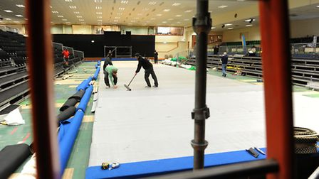 Construction of the World indoor bowls arena at Potters Leisure Resort.PHOTO: Nick Butcher