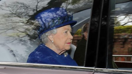Queen Elizabeth II arriving to attend the morning church service at St Mary Magdalene Church in Sand