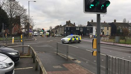 Police block off the junction of Dereham Road and Old Palace Road in Norwich because of a possible g