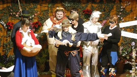 A scene from the Friends of Norfolk Dialect's Wizard of Ouse panto at East Tuddenham Village Hall. P