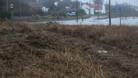The Coast Road between Cley and Salthouse, pictured, remained closed due to flooding and debris on t