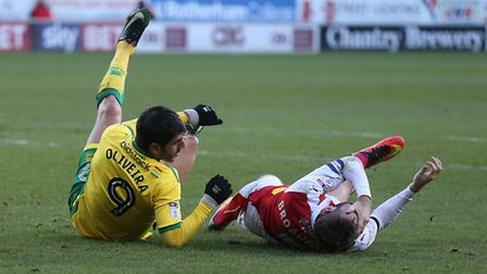 Nelson Oliveira of Norwich tangles with Kirk Broadfoot of Rotherham United. Picture by Paul Chester