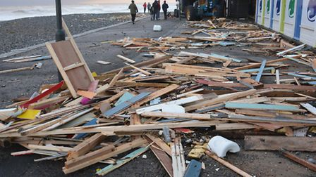 The damage at Cromer Promenade after high tide. By Dave Hubba Roberts.