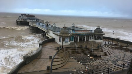 Cromer Pier has been closed today for safety checks following last night's storm surge.