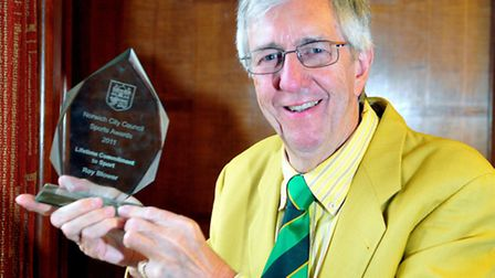 Roy Blower, seen here with his Norwich Sports Award 2011 for his lifetime commitment to sport. Pioto