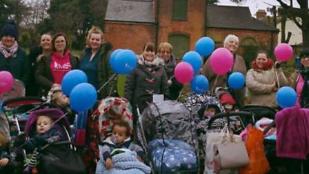Georgia Gillett and other members of the Butterfly Club on their pram walk in Gorleston. Picture: su