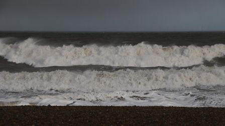 The sea crashes into the beach at Cley. Picture: ALLY McGILVRAY