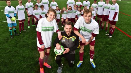 Darren Huckerby performs the official opening of the new 3G football pitch in Long Stratton.PHOTO:
