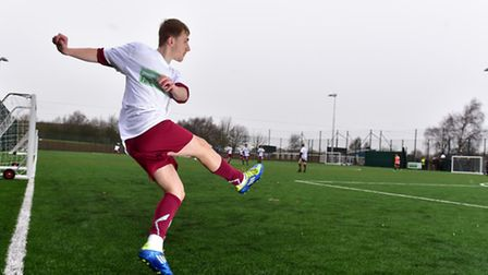 Owen Woodhouse using the new 3G football pitch in Long Stratton.