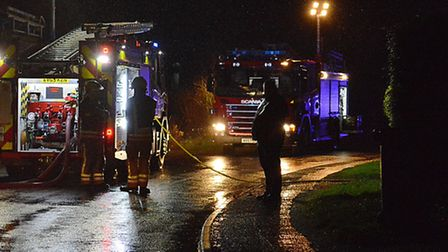 Fire appliances at the scene of the fire in Ovington, near Watton. Picture: Chris Bishop