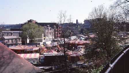 The fair on the old cattle market taken from the Castle gardens in 1981, probably around Easter time