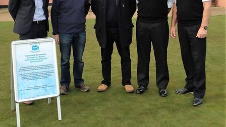 From left, Ben Townsend, manager of Halesworth Golf Club, Richard Kell, HCNCF chairman, Ted Edwards,