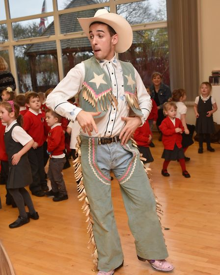 Panto stars from the Theatre Royal's Jack and the Beanstalk put pupils from Arden Grove School throu