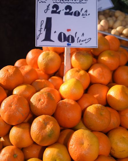 Seville oranges for marmalade at Mike, Debs and Sons Fruit and Veg stall at Norwich Market. Picture: