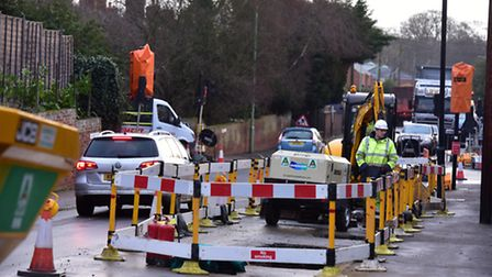 Essential gas works are being carried out in Beccles at the crossing of London Road with St Mary's R