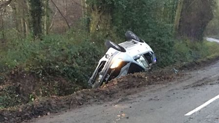 A car overturned in Saxlingham Nethergate yesterday. Picture Twitter/ZakNelson