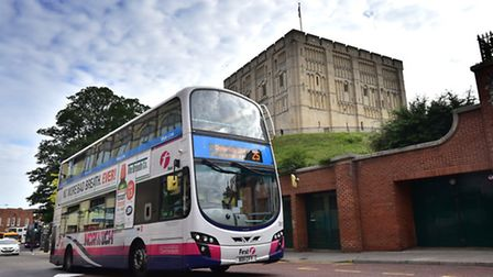 The number 25 First bus at Castle Meadow, Norwich. Picture: ANTONY KELLY