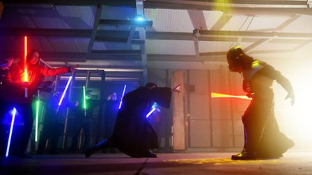 Battlestations Activities at Snetterton. A battle with the Star Wars light sabers and Darth Vader.P