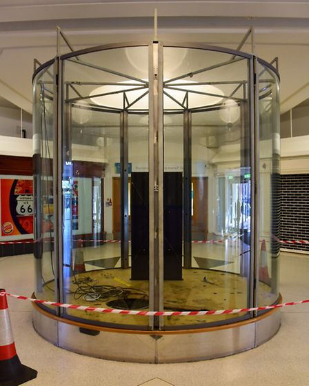 The empty case where the Gurney Clock stood at the Castle Mall. Picture: DENISE BRADLEY