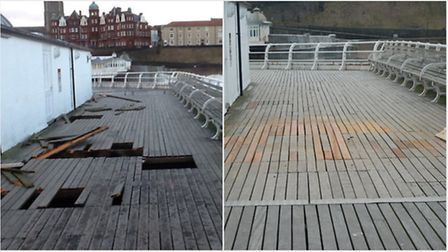The damage to Cromer Pier after the tidal surge is evident, left. Also pictured, right, once the rep