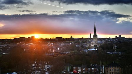 Sunset over Norwich. Pictured from Britannia Road. Picture: ANTONY KELLY