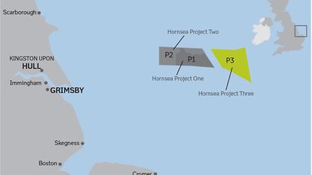 The proposed site of the Hornsea Project Three offshore windfarm, about 120k from Trimingham on the