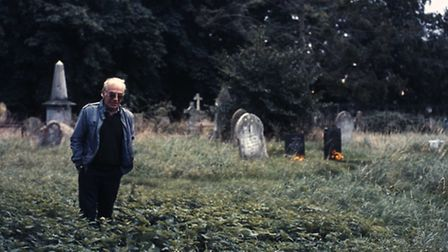 Gravedigger William King, from Dereham, in Pentney church yard where he found the six Anglo Saxon br