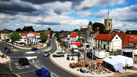 Swaffham town centre and market place, as seen from the town's museum.