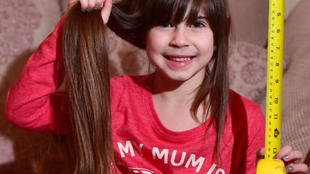 Ruby-Ellen Fox, five, is getting ready to cut up to 12 inches from her long hair for the Little Prin