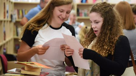 GCSE results at Sprowston High School. Kelsey Andrews, left, who celebrated her birthday as well as