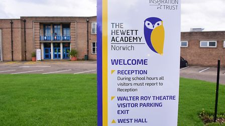 The new signs for the Hewett Academy at the school. Picture: DENISE BRADLEY