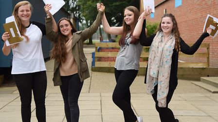 GCSE results at Sprowston High School. Celebrations for, from left, Kelsey Andrews, Mae Dent, Madiso