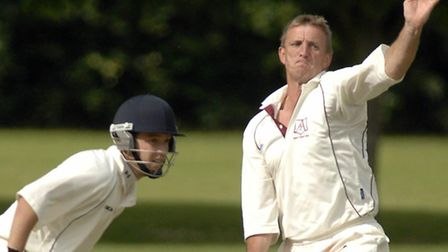 Acle v Topcroft cricket. Bowler Paul Newman and batsman Chris Handcock.; Photo: Andy Darnell; Copy:;