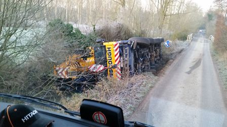 Wangford Crane Incident 18/01/17. Photo by Billy Cooper
