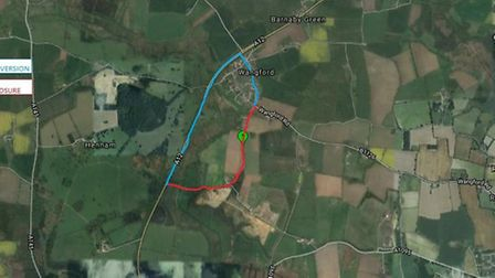 Map of Hill Road, Waveney (Wangford) diversion - Jan 2017. Photo: Google and Suffolk County Council