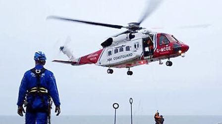 Picture of coastguard helicopter. Photo credit: HM Coastguard Happisburgh & Mundlesley /PA Wire.