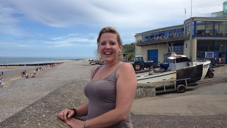 Student paramedic Lucy Hammond near the site on Cromer beach where she pulled a drowning man from th