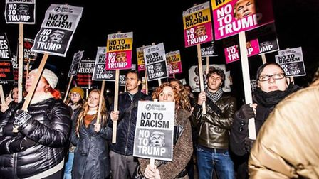 Protesters against Trump. Picture: STAND UP TO RACISM