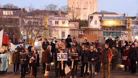 Protesters against Donald Trump's inauguration, organised by Norwich Stand Up To Racism, outside the